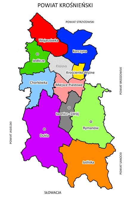 Mapa Powiatu Krośnieńskiego